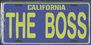 California The Boss License Plates