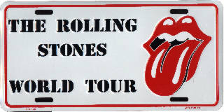 The Rolling Stones World Tour License Plates